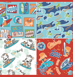 Cute surf seamless pattern collection vector