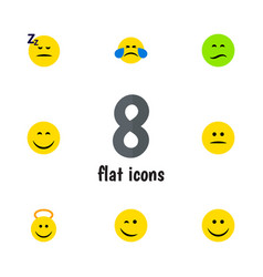 Flat icon emoji set of angel asleep frown and vector