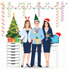 happy colleagues in santa hat with champagne vector image vector image