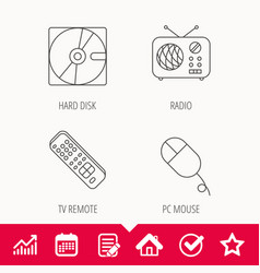 Hard disk radio and tv remote icons vector