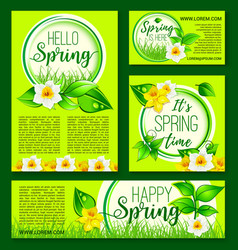 Hello spring green nature flowers templates vector