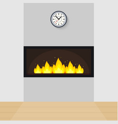 modern built-in fireplace vector image