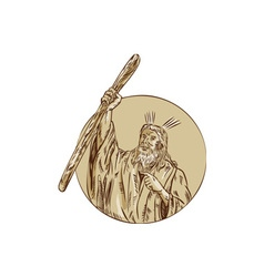 Moses raising staff circle etching vector