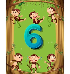 Number six with 6 monkeys on the tree vector image vector image