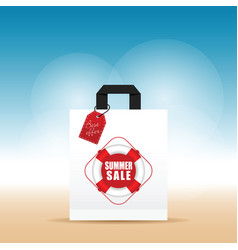 Paper bag with summer sale and best offer tag on vector