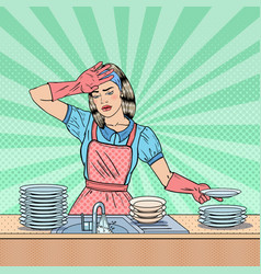 Pop art housewife washing dishes at the kitchen vector