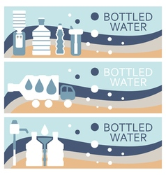 Set of banners for theme bottled water flat design vector