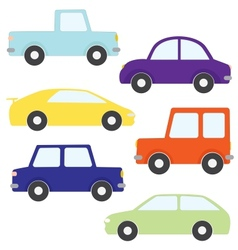 Set of cartoon cars vector image vector image