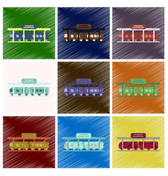 Set of flat icons in shading style train station vector