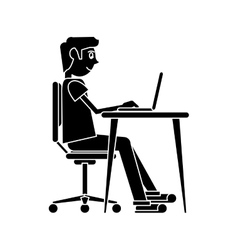 Silhouette man working front computer with pc vector