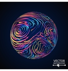 Sphere with swirled stripes glowing vector