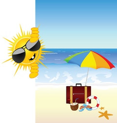 Sun and the beach color vector