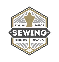 Tailor sewing studio label with dummy vector