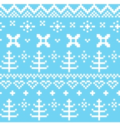 Winter norwegian seamless knitting pattern - blue vector