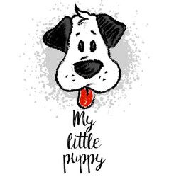 with cute cartoon sketch dog vector image