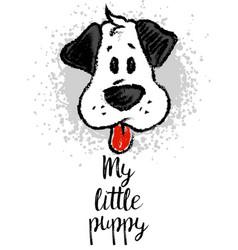 With cute cartoon sketch dog vector