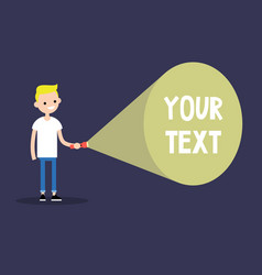 Young blond boy holding a flashlight your text vector