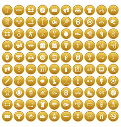 100 sport icons set gold vector
