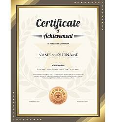 Certificate achievement gold brown wreath vector