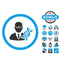 Genetic engineer flat icon with bonus vector