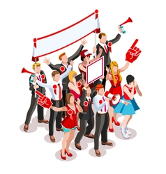 Election infographic crowd rally isometric people vector