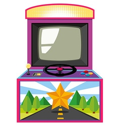 Arcade game box with screen and wheel vector