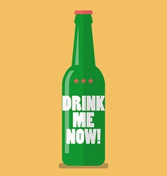Beer bottle drink me now vector image