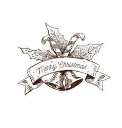 Hand drawn christmas logo vector
