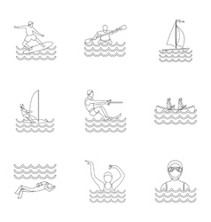 Active water sport icons set outline style vector