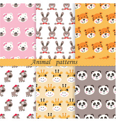 set of cute animals seamless patterns vector image
