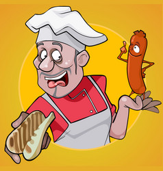 Cartoon male chef holding a bun and sausage vector