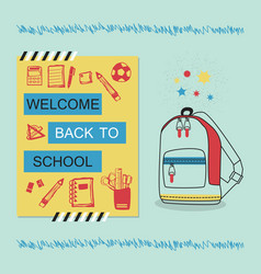 Welcome back to school blue and yellow poster vector