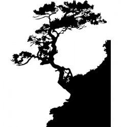Tree on a rock vector