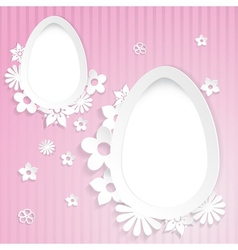 Background with eggs and paper flowers on pink vector