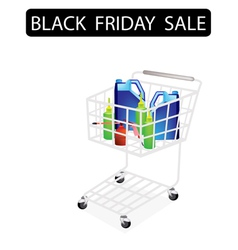 Engine oil packaging in black friday shopping cart vector