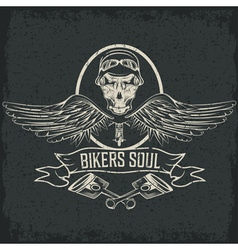 Biker theme label with pistons and skulls with vector