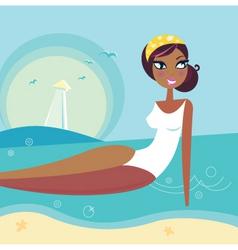 retro summer beach girl vector image