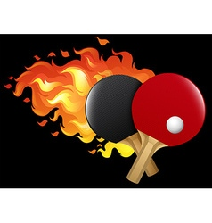 Flaming table tennis set vector