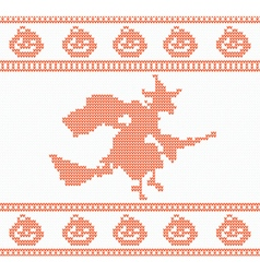 Seamless knitted halloween pattern with witch vector