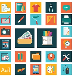 Design flat icons set of graphic and web design vector