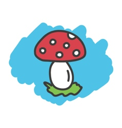 Cartoon doodle mushroom fungi vector