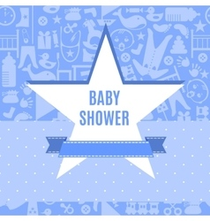 Baby shower card in blue and pink color vector