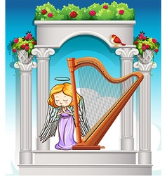 Fairy playing harp in heaven vector