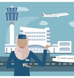 Muslim airline and stewardess vector