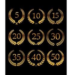 Anniversary golden laurel wreathes vector image