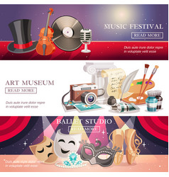 Arts horizontal banners set vector