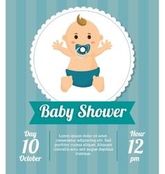 Baby boy of baby shower card design vector image vector image