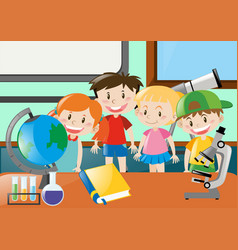 boys and girls learning science in classroom vector image vector image