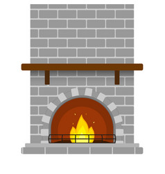 Brick fireplace isolated vector