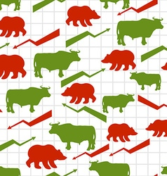 Bulls and bears seamless pattern exchange traders vector